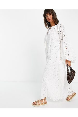 ASOS Women Maxi Dresses - Broderie maxi dress with blouson sleeves and tie front
