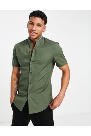 ASOS Skinny shirt with grandad rib collar
