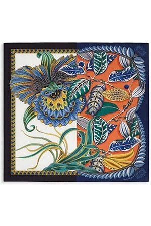 Salvatore Ferragamo Macro Orchid-Print Silk Square Scarf