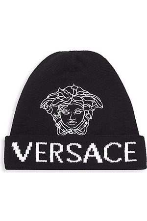 Versace Kid's Wool Medusa Logo Jacquard Beanie