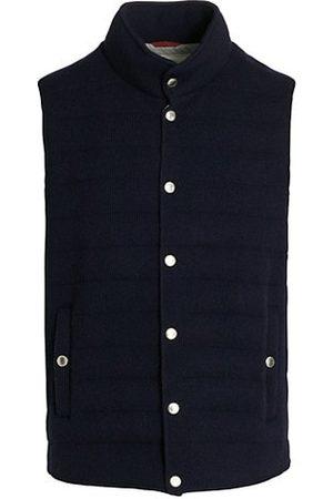 Brunello Cucinelli Men Parkas - Ribbed Cashmere Puffer Vest