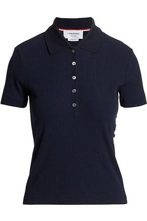 Thom Browne Women Polo Shirts - Rib-Knit Polo Shirt
