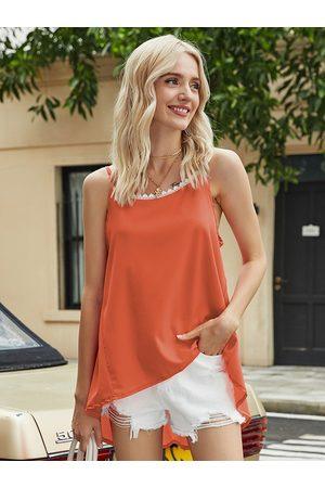 YOINS Women Camisoles - Lace Trim Asymmetrical Hem Cami