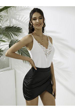 YOINS Women Camisoles - Lace Trim Design Deep V-neck Cami