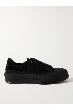 Alexander McQueen Suede-Trimmed Canvas Sneakers