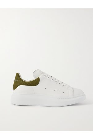 Alexander McQueen Exaggerated-Sole Croc-Effect Suede-Trimmed Leather Sneakers