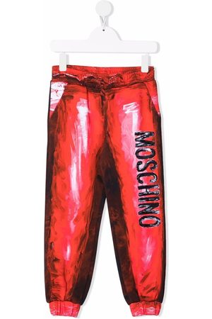 Moschino Trompe l'oeil painterly-effect logo-print track pants