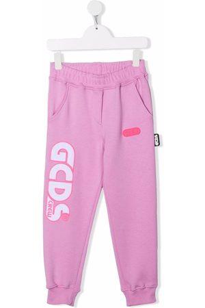 GCDS Boys Pants - Embroidered logo track pants