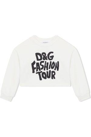 Dolce & Gabbana Fashion Tour-print cropped sweatshirt