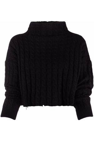 Pinko Women Jumpers - Cable-knit cropped jumper