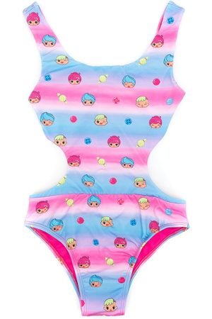 AMIR SLAMA Girls Swimsuits - Printed + CHOCOLIX cut-out swimsuit
