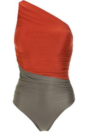 Brigitte Two-tone one-shoulder swimsuit