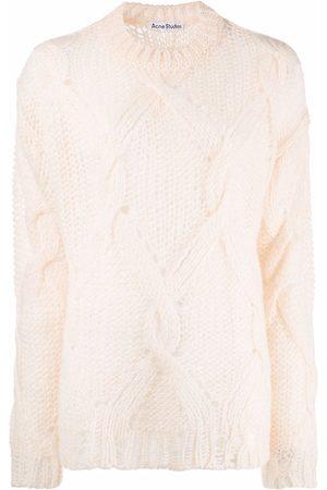 Acne Studios Women Jumpers - Stripe-pattern ripped-detail jumper