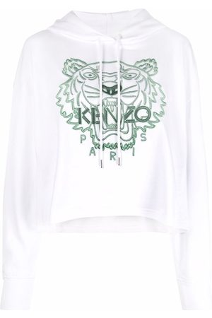 Kenzo Women Hoodies - Tiger-embroidered cotton hoodie