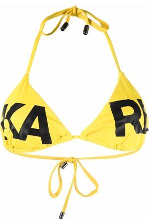 Karl Lagerfeld Logo-print triangle-cup bikini top