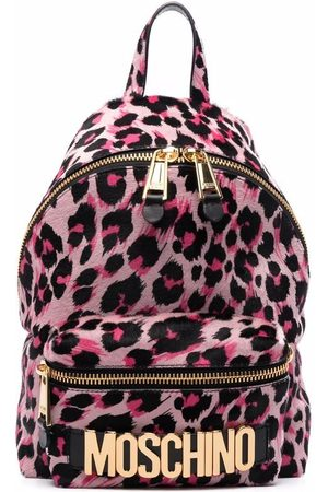 Moschino Leopard-print logo-plaque backpack