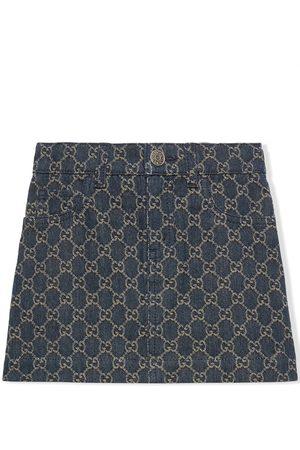 Gucci GG jacquard denim skirt