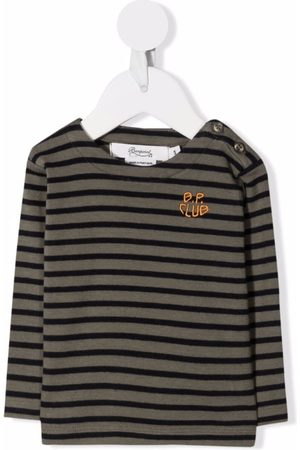 BONPOINT Striped logo-embroidered long-sleeve top