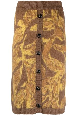 Pinko Abstract-pattern knitted skirt