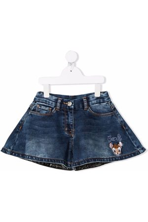 MONNALISA Bambi-embroidered flared denim shorts