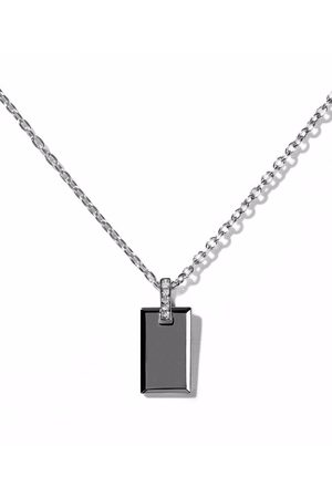 AS29 18kt gold small Tag diamond rectangle pendant necklace