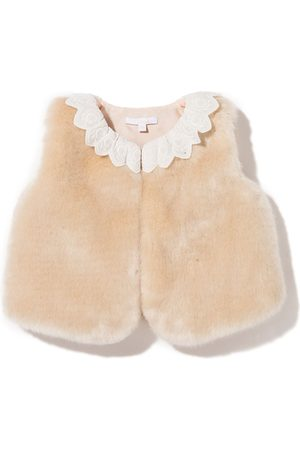 Chloé Embroidered collar faux-fur gilet