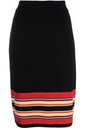 Yves Saint Laurent 2000s striped detail straight-fit skirt