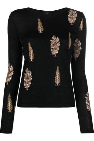 Giambattista Valli Embroidered-tree cashmere-silk jumper