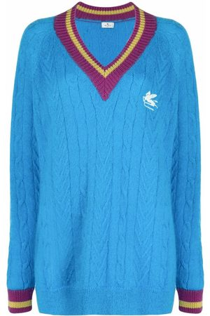 Etro Embroidered-logo cable-knit jumper