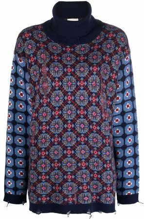 SEMICOUTURE Abstract-pattern virgin wool jumper