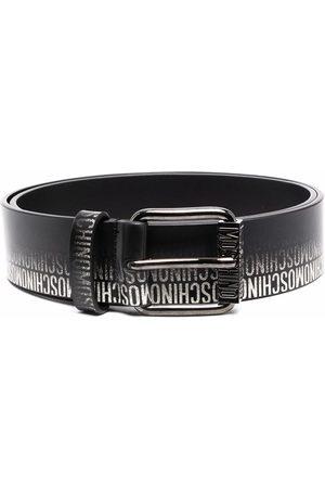 Moschino Faded logo-print leather belt
