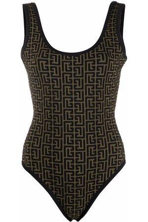 Balmain Monogram jacquard open-back bodysuit
