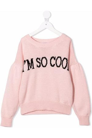 MONNALISA Girls Jumpers - Slogan intarsia rib-trimmed jumper