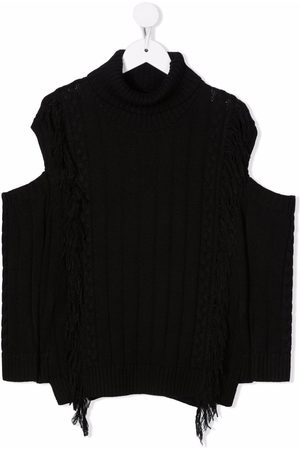 MONNALISA Girls Camisoles - Fringed cable-knit vest