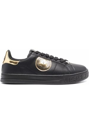 VERSACE Logo-patch leather trainers