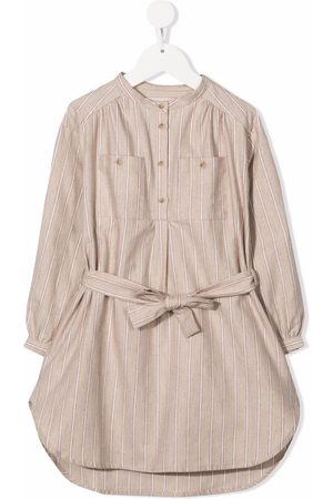 BONPOINT Stripe-print collarless dress