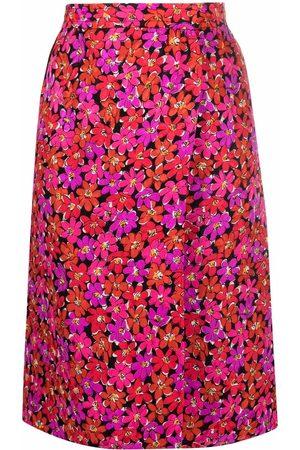 Yves Saint Laurent 1980s floral silk wrap-skirt