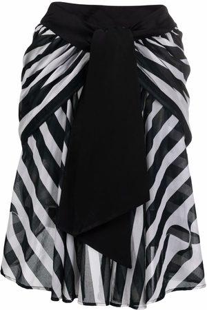 Yves Saint Laurent 1988 asymmetric stripe-print skirt