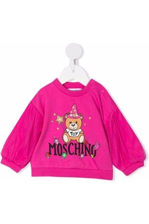Moschino Kids Teddy Bear logo-print long-sleeve top