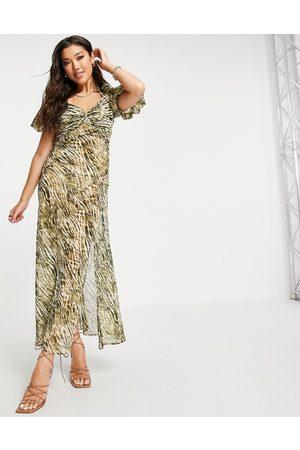 ASOS DESIGN Twist front maxi dress in tie dye animal print-Multi