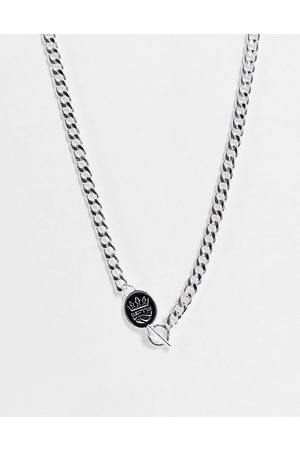 WFTW Enamelled shield charm flat curb chain necklace in