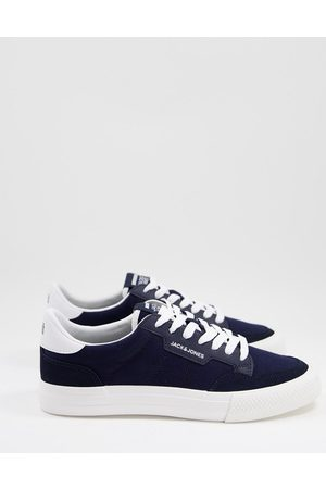 JACK & JONES Canvas trainers with PU inserts in navy