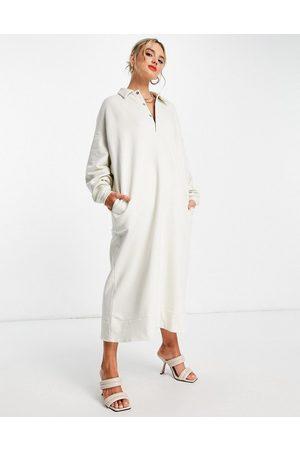 ASOS Oversized polo sweat dress in pebble