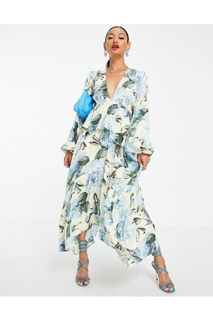 Y.A.S Women Printed Dresses - Dress with hanky hem and tie back in floral print-Multi