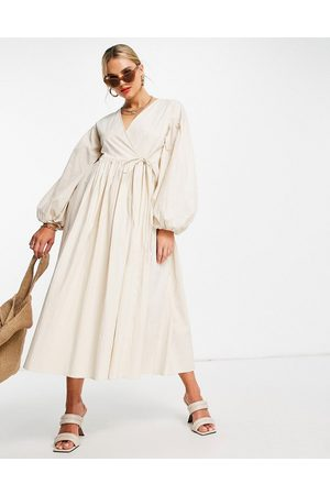 ASOS EDITION Women Casual Dresses - Oversized wrap smock dress with blouson sleeve in cream