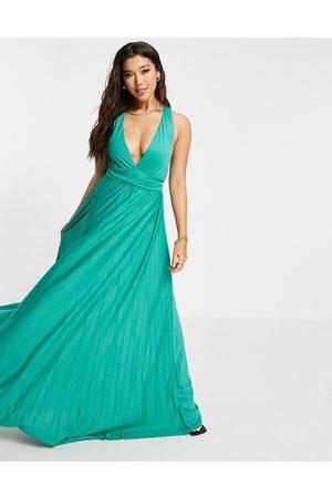 ASOS Plunge halter cross back self tie pleated maxi dress in aqua