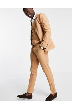 ASOS DESIGN Men Skinny Pants - Skinny suit trousers in tan cotton linen