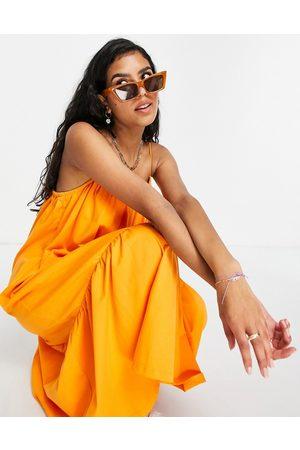 ASOS DESIGN Strappy midi sundress with pep hem in