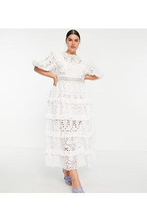 ASOS Women Midi Dresses - Curve tiered broderie midi dress with ruffle in