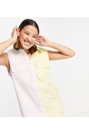Noisy May Women Casual Dresses - Exclusive padded shoulder shirt dress in pink and yellow colour block-Multi